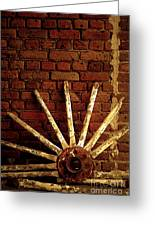 Wheel Against Wall Greeting Card
