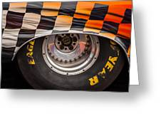 Wheel And Chequered Flag Greeting Card