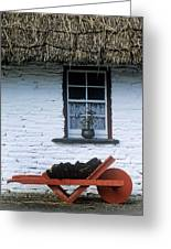 Wheelbarrow In Front Of A Window Of A Greeting Card
