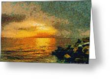 When The Sun Mets The Sea Greeting Card