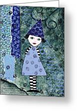 Whimsical Blue Girl Mixed Media Collage  Greeting Card