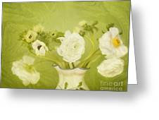 White Anemonies And Ranunculus On Green Greeting Card