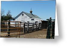 White Barn  And Corrals Greeting Card