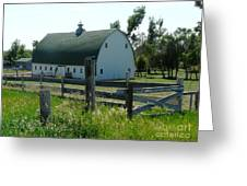 white barn in ND Greeting Card