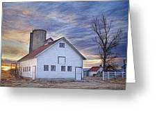 White Barn Sunrise Greeting Card