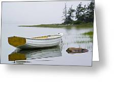 White Boat On A Misty Morning Greeting Card