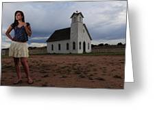 White Church And Model Greeting Card