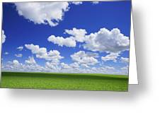 White Clouds In The Sky And Green Meadow Greeting Card