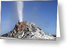 White Dome Geyser Erupting, Upper Greeting Card