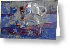 White Elephant Ride Abstract Greeting Card by Garry Gay