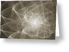 White Fractal Flower Greeting Card