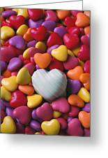 White Heart Candy Greeting Card