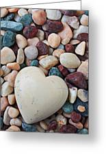 White Heart Stone Greeting Card