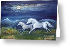 White Horses In Moonlight Greeting Card by Maureen Ida Farley