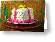 White Present Cake Greeting Card