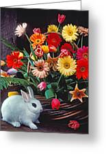 White Rabbit By Basket Of Flowers Greeting Card