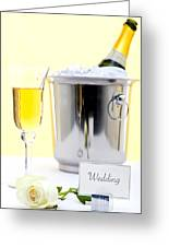 White Rose And Champagne Greeting Card