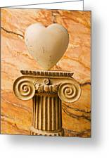 White Stone Heart On Pedestal Greeting Card by Garry Gay