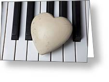 White Stone Heart On Piano Keys Greeting Card