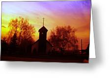 White Swan Church In The Sunset Greeting Card