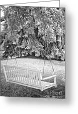 White Swing Black And White Greeting Card