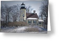 Whitehall Lighthouse In Winter Greeting Card