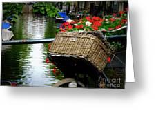 Wicker Bike Basket With Flowers Greeting Card