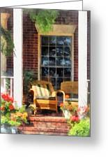 Wicker Chair With Striped Pillow Greeting Card