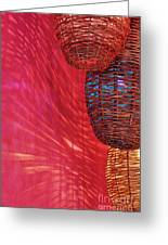 Wicker Light Shades And Pink Wall Greeting Card