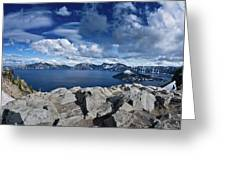 Wide View Of Crater Lake Greeting Card