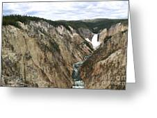 Wide View Of The Lower Falls In Yellowstone Greeting Card