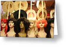 Wigs And Hats Greeting Card