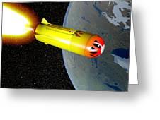 Wild Fire Private Spacecraft, Art Greeting Card by Christian Darkin