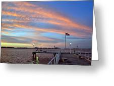 Williams Pier During Sunrise In Gulfport Florida Greeting Card