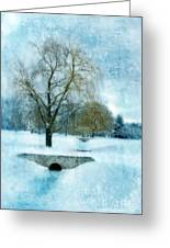 Willow Trees By Stream In Winter Greeting Card