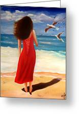 Wind Blown Beach Greeting Card by Joni McPherson