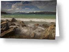 Wind Storm On Lake Pukaki Greeting Card