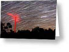 Wind Turbine Under Star Trails Greeting Card by Laurent Laveder