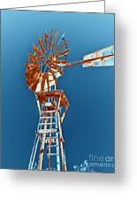 Windmill Rust Orange With Blue Sky Greeting Card by Rebecca Margraf