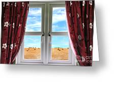 Window And Curtains With View Of Crops  Greeting Card
