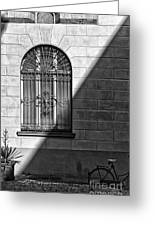 Window And Shadow On A Wall With Bike Greeting Card