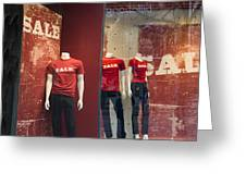 Window Display Sale With Mannequins No.0112 Greeting Card