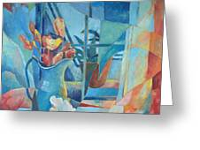 Window In Blue Greeting Card