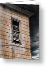 Window In Old House Stormy Sky Greeting Card