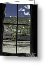 Window To The Rail Yard Greeting Card