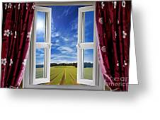 Window View Onto Arable Farmland Greeting Card