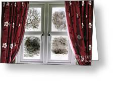 Window View To A Snow Scene Greeting Card