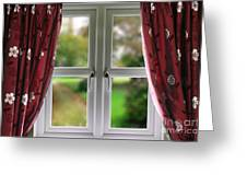 Window With Curtains Greeting Card