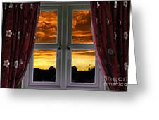 Window With Fiery Sky Greeting Card
