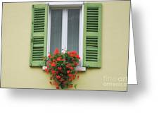 Window With Shutter Flowers Greeting Card
